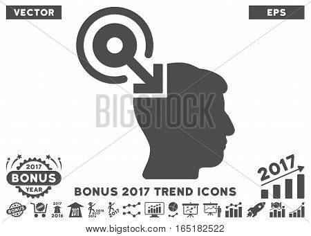 Gray Brain Interface Plug-In pictograph with bonus 2017 year trend symbols. Vector illustration style is flat iconic symbols white background.