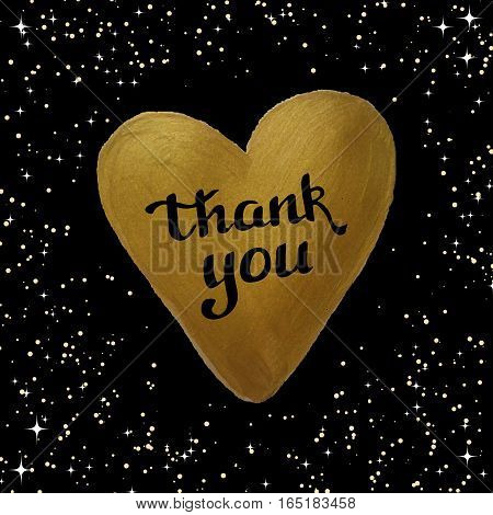 Thank you lettering on a golden heart background made in vector. Poster, card, greeting card, postcard design.