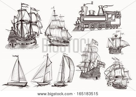 Huge collection of vector hand drawn high detailed ships and train