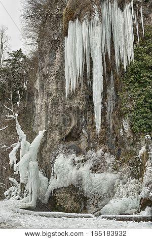 Caves of Valganna - ice waterfall tourist attraction