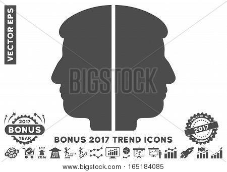Gray Dual Face pictogram with bonus 2017 trend icon set. Vector illustration style is flat iconic symbols white background.