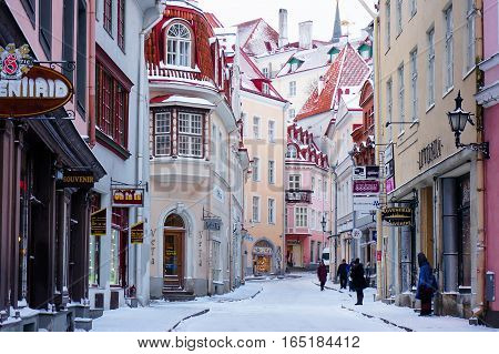 Tallinn Estonia - January 05 2017: one of the famous tourist streets in the old town - Vana Tallinn