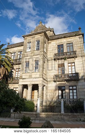 House of Villa Pilar, in Pontevedra, Galicia, Spain. This small palace was built in XIX century and is located next to the Vicenti Gardens
