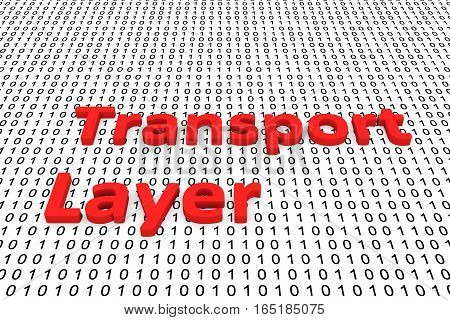 transport layer in the form of binary code, 3D illustration