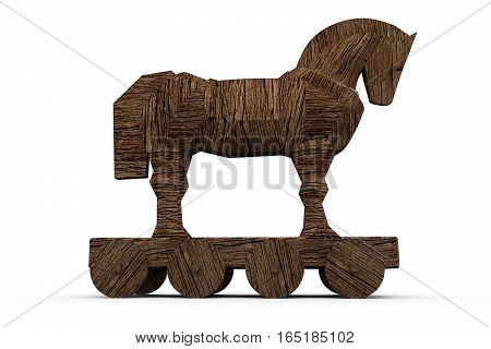 trojan horse on white background 3D illustration