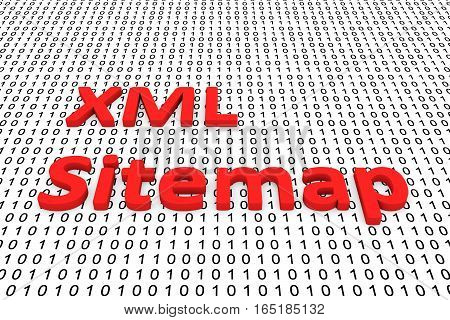 xml sitemap in the form of binary code, 3D illustration