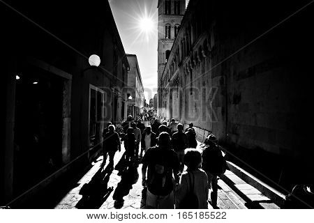 Kalelarga Street Of Zadar Black And White