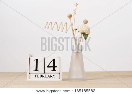 February 14 Calendar Wooden Cube. Valentine's Day