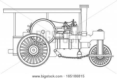 A vintage victorian ere steam roller over a white bakground