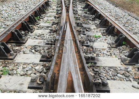 railway track on gravel for train transportation: Select focus with shallow depth of field :