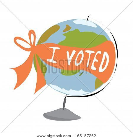 vector layout globe wrapped with a ribbon with the inscription / I voted