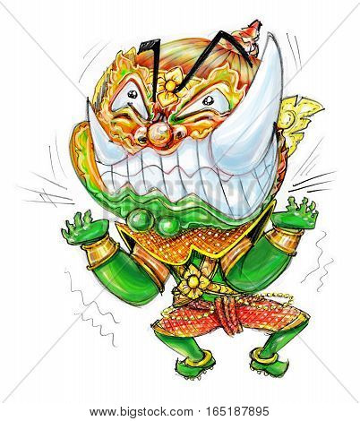 Thai Giant Cartoon acting frantic design and freehand pencil sketch background isolated white background.