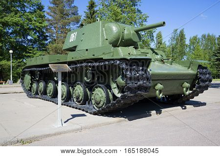 LENINGRAD REGION, RUSSIA - JUNE 08, 2015: Soviet heavy tank KV-1, installed at the Museum-diorama `Break of Leningrad blockade`. Leningrad region