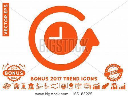 Orange Restore Clock pictogram with bonus 2017 year trend symbols. Vector illustration style is flat iconic symbols white background.