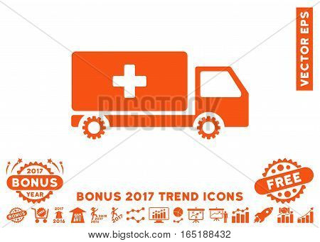 Orange Service Car pictograph with bonus 2017 year trend clip art. Vector illustration style is flat iconic symbols white background.