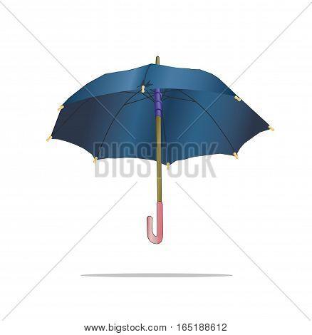 Blue Umbrella on white back ground isolated.
