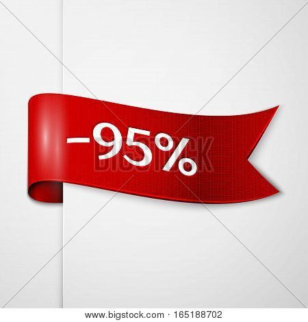 Red ribbon with inscription 95 percent discounts on grey background. Vector illustration.