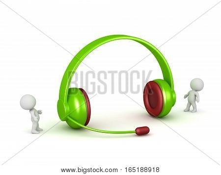 Small 3D characters and a large pair of headphones with microphone. Isolated on white background.