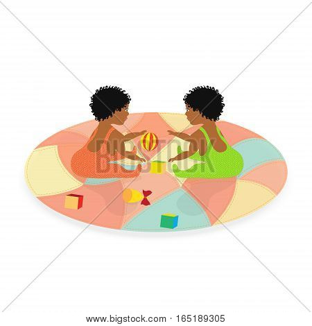 Two Little African Baby Twins Girls with Short Black Curly Hairs Playing on the Crazy Quilt. Vector EPS 10