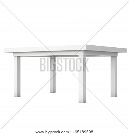 White Table. 3D render isolated on white. Platform or Stand Illustration. Template for Object Presentation.