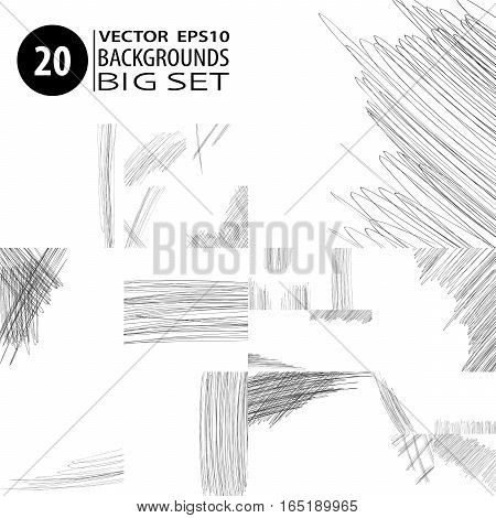 Doodle backgrounds. Big set of 20 abstract layouts. Ink scribbles templates. Pencil hand drawn effect. Vector illustrations for modern printed products.