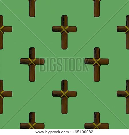 Wood Cross Isolated on Green Background. Seamless Pattern