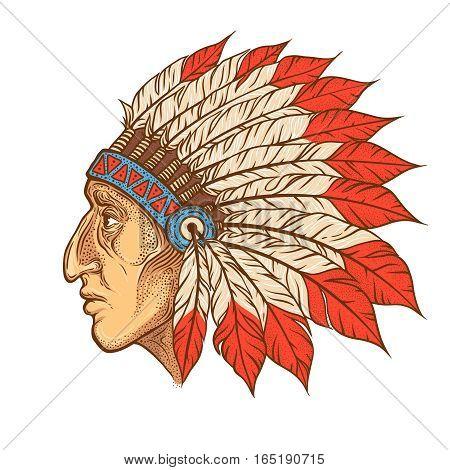 Native American Indian chief head profile. Vector vintage illustration. Hand drawn style. Blackwork tattoo. Bohemian element