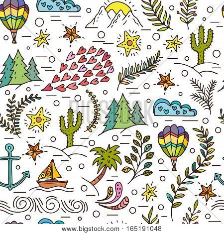 Cartoon hand-drawn doodles on a theme travel theme seamless pattern. Colorful detail, with a large number of objects vector background