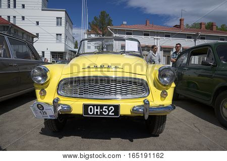 SAVONLINNA, FINLAND - JUNE 06, 2015: Skoda Felicia cabrio front. The festival of vintage cars in Savonlinna. Finland