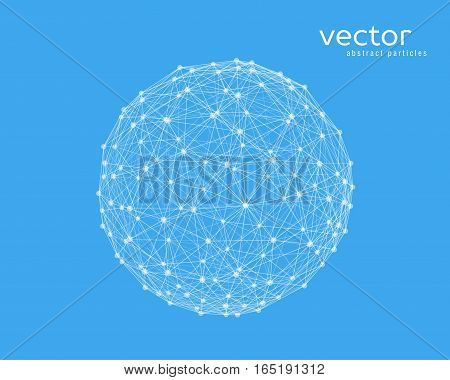 Abstract vector illustration of sphere on blue background