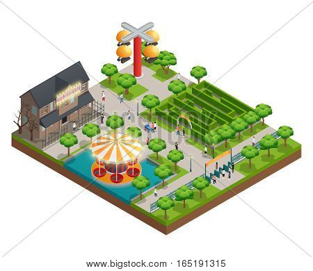 Amusement park isometric concept with haunted house and labyrinth symbols vector illustration
