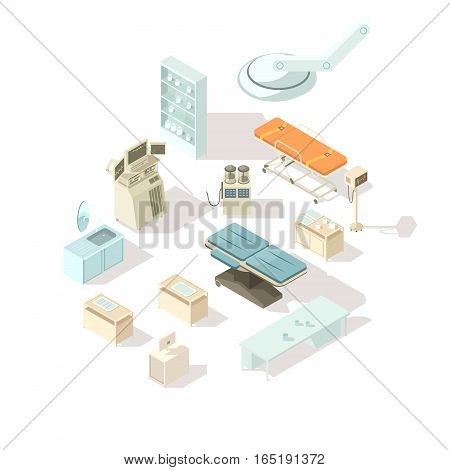 Medical equipment for hospital isometric icons set of special furniture for operating room and  intensive care flat vector illustration