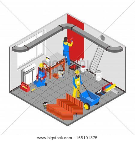 Builder people isometric concept with interior redecoration symbols vector illustration