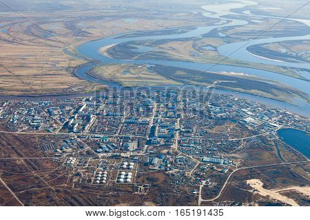 Aerial View of the Megion town on the bank river Ob. It's a town in oil production province of Russia.