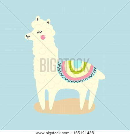 Vector cute llama or alpaca illustration. Funny animal