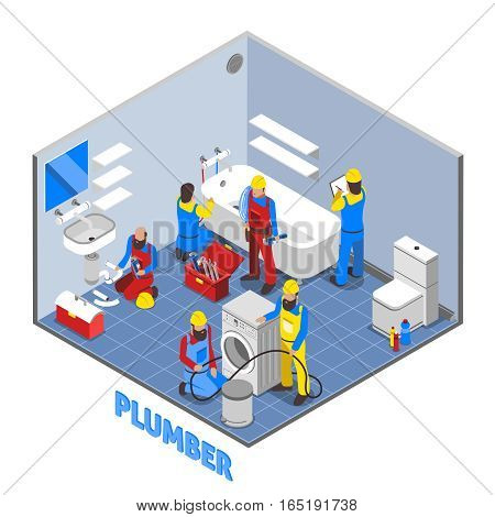 Colored and 3d plumber isometric composition in working process of repairing pipes vector illustration