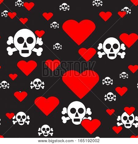 Sculls and Hearts on Black Seamless Pattern, Vector Illustration