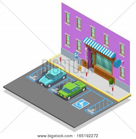Parking zone isometric template with cars empty disabled lot near building vector illustration