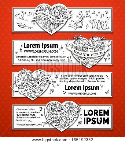 Vector Set Of Horizontal Romantic Doodles Banners.
