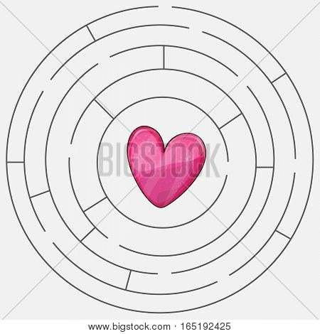 Love heart maze or labyrinth valentines day vector illustration