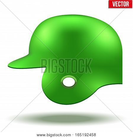 Classic baseball helmet. Green color. Side view. Sample equipment for your design. Vector illustration Isolated on white background.