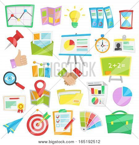 Collection of bright cartoon vector illustrations for presntation, business report and data analisys, startup conference and meeting.