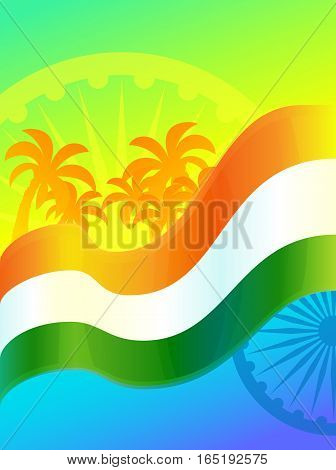 Republic Day in India, 26 January. Vector design element, background with Indian national flag, ashoka wheel and palm trees