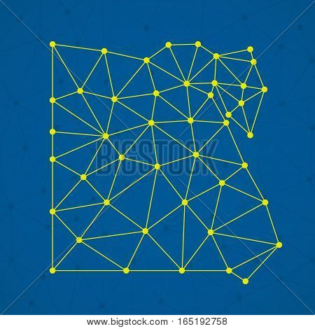 Abstract polygonal Egypt map with dots and lines, network connections