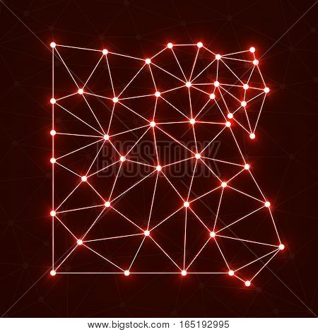 Abstract polygonal map Egypt with glowing dots and lines network connections