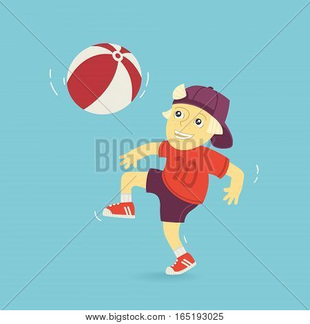 Boy Playing Ball Vector Illustration eps 8 file format