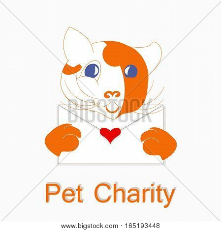 Typography banner Happy Pet Charity, red and white cartoons cat with envelope, red heart, stock vector illustration