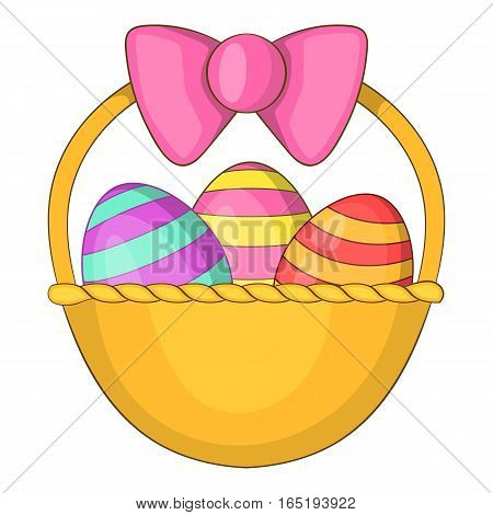 Easter basket icon. Cartoon illustration of easter basket vector icon for web