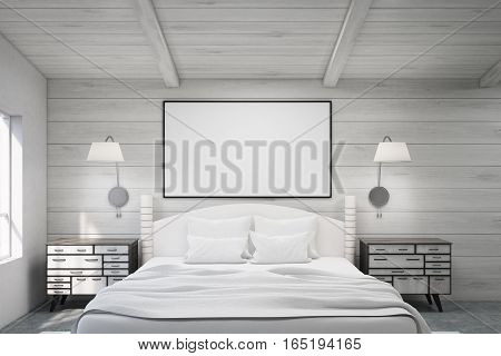 Double Bed In A Wooden Room With Poster