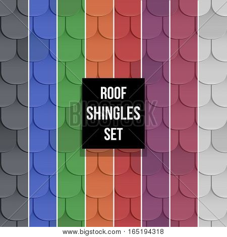 Set of different color Shingles roof seamless patterns. Classic style. Vector illustration